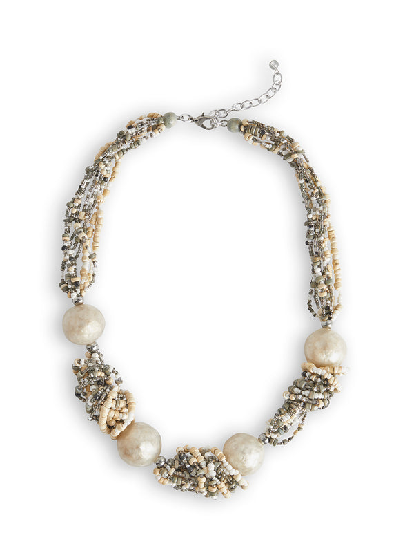 Knotted Bead Stone Accent Necklace – Misook