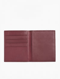 The Misook Passport Wallet in color Burgundy Leather - Inside