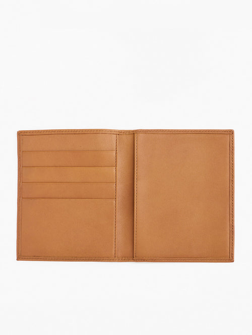 The Misook Passport Wallet in color Tan Leather - Inside