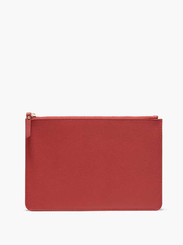 Medium Leather Zip Case in Color Red with Gold Finishes