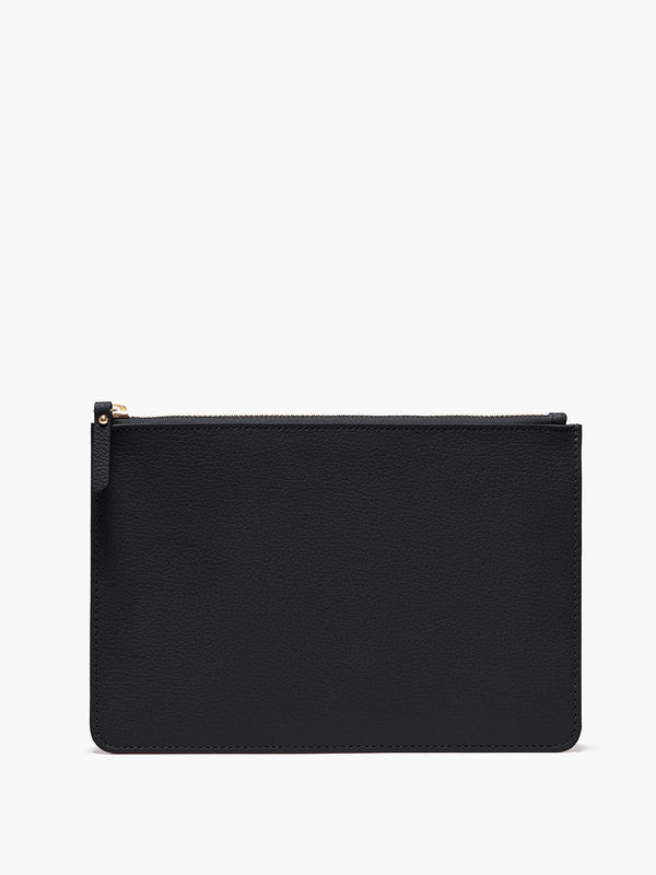 Medium Leather Zip Case in Color Black with Gold Finishes