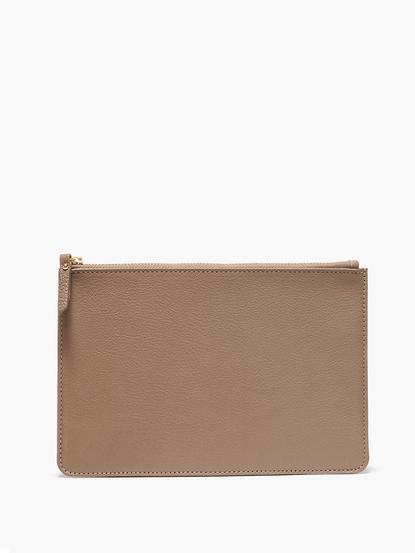 Medium Leather Zip Case in Color Taupe with Gold Finishes
