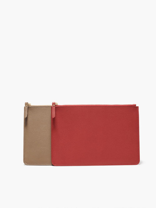 Two Medium Leather Zip Cases with Gold Finishes; Colors Featured are Red and Taupe