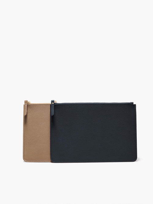 Two Medium Leather Zip Cases with Gold Finishes; Colors Featured are Black and Taupe