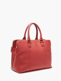Hudson Satchel Side View of Zipper and Gold Finishes in Color Red