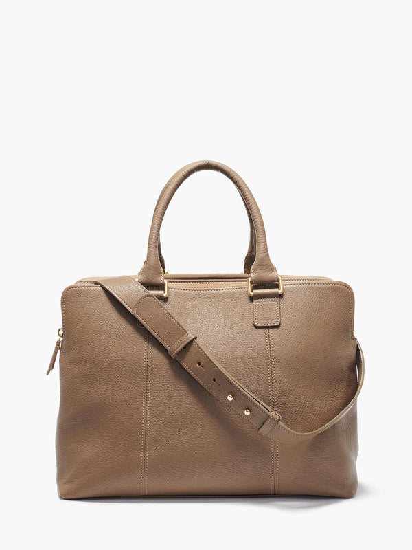 Hudson Satchel with Adjustable Shoulder Strap and Gold Finishes in Color Taupe