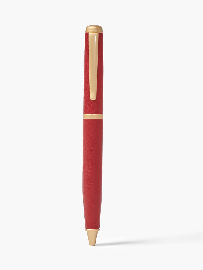 Ballpoint Pen Leather Shaft and Clip in Color Red with Brushed Gold Hardware