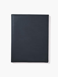 Leather Padfolio in Color Navy Blue; Closed