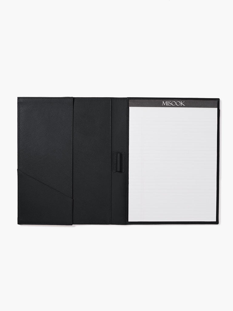Open View of Leather Padfolio in Color Black with Lined Letter Pad, Pen Holder, Business Card Pocket, and a Gusseted Half Pocket