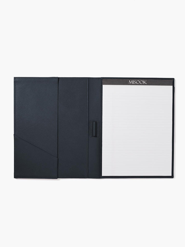 Open View of Leather Padfolio in Color Navy Blue with Lined Letter Pad, Pen Holder, Business Card Pocket, and a Gusseted Half Pocket