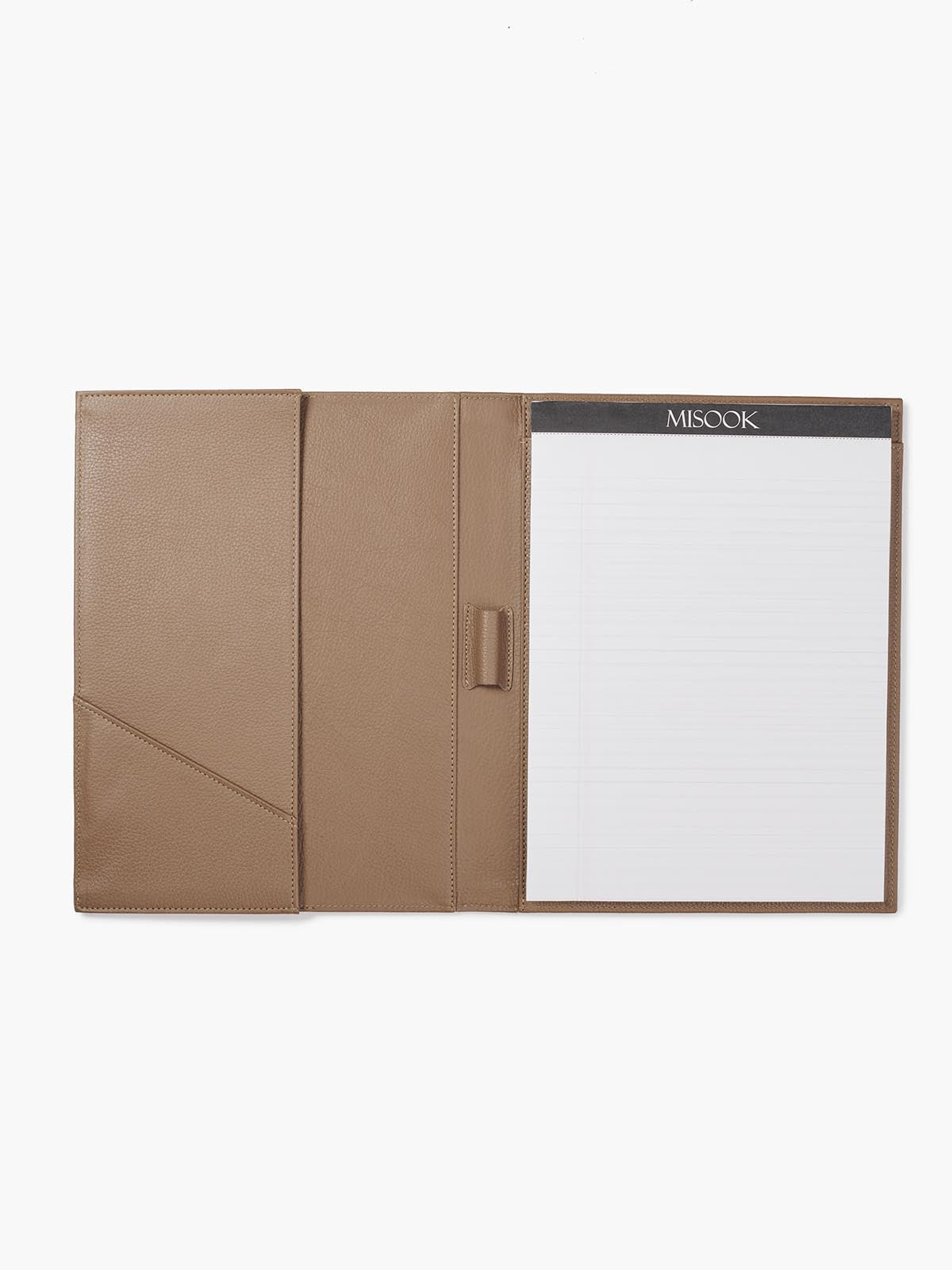 Open View of Leather Padfolio in Color Taupe with Lined Letter Pad, Pen Holder, Business Card Pocket, and a Gusseted Half Pocket