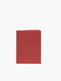 Front View of Leather Passport Cover in Color Red;