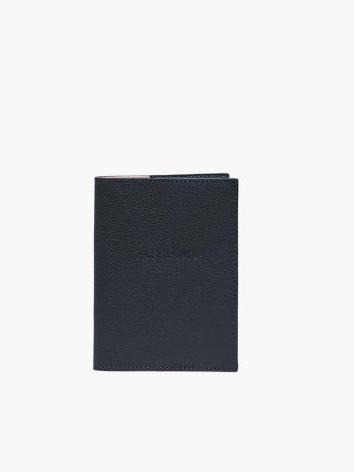 Front View of Leather Passport Cover in Color Navy Blue;