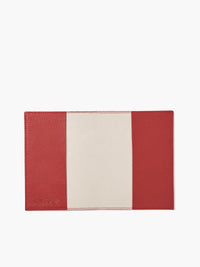 Open View of Leather Passport Cover in Color Red; Features a Faux Suede Interior and Two Leather Pockets