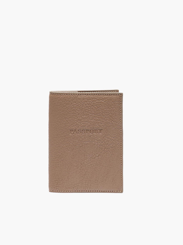 Front View of Leather Passport Cover in Color Taupe;