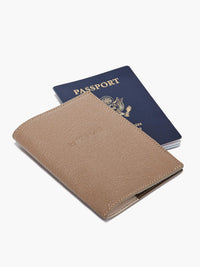Front View of Leather Passport Cover in Color Taupe with Example Passport Book;