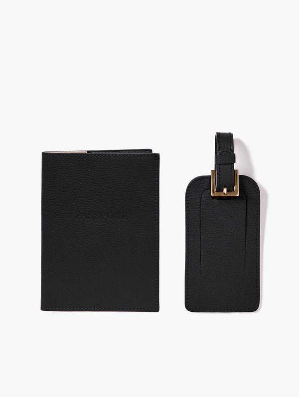 Passport Cover and Luggage Tag Set, Black