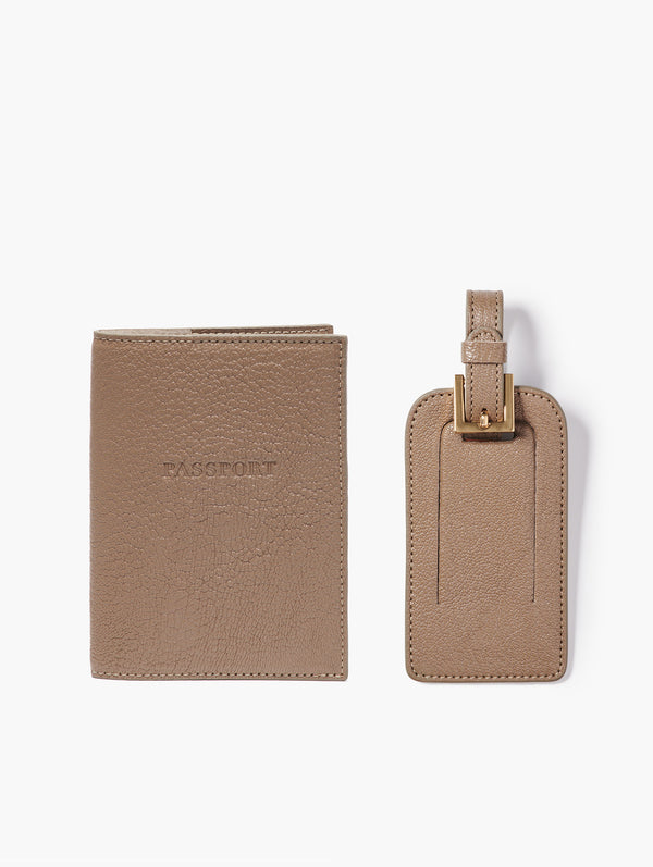 Passport Cover and Luggage Tag Set, Taupe