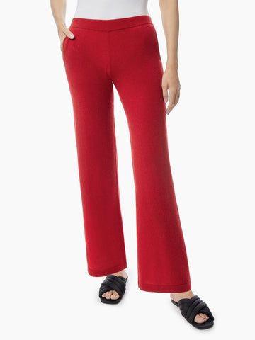 Cashmere Wide Leg Pant, Red