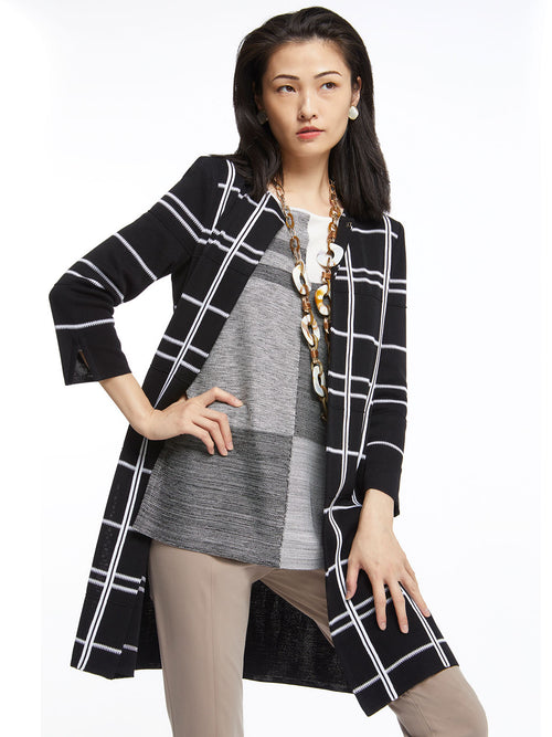 Colorblock Melange Knit Tunic and Graphic Plaid Knit Topper in Black