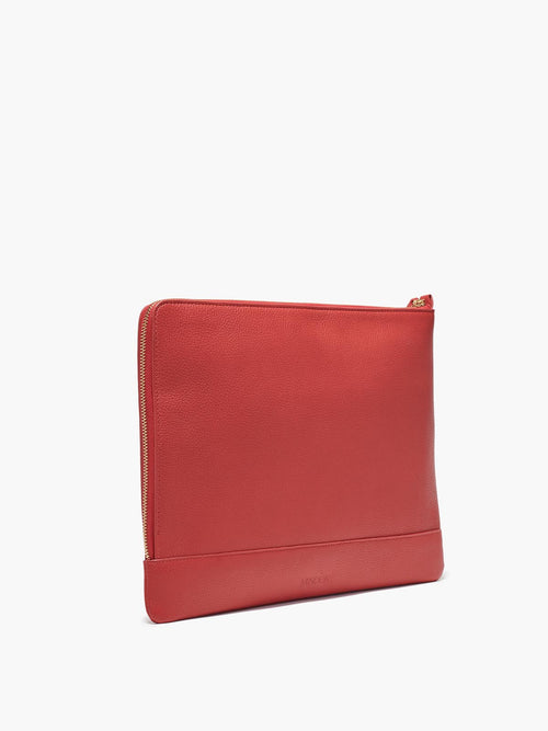 Leather Zip Case in Color Red with Zipper Closure and Gold Finishes