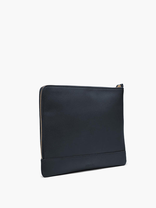 Leather Zip Case in Color Navy Blue with Zipper Closure and Gold Finishes