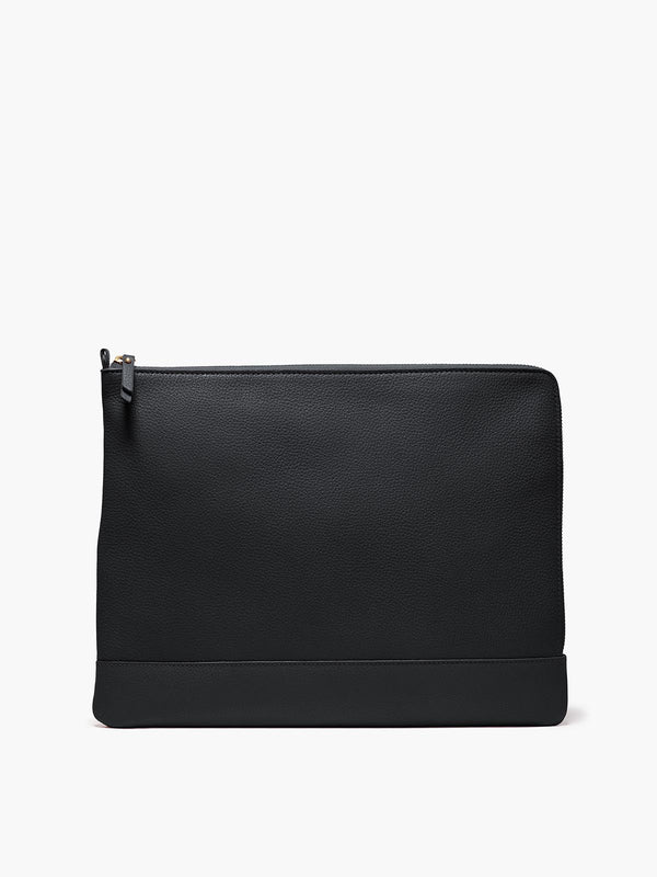 Leather Zip Case in Color Black with Zipper Closure and Gold Finishes