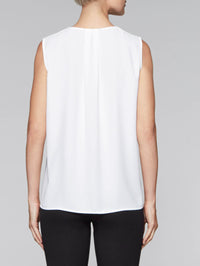 White and Gold Crepe de Chine Tank