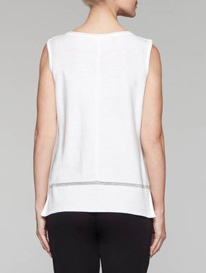 White Knit Tank with Mélange Trim