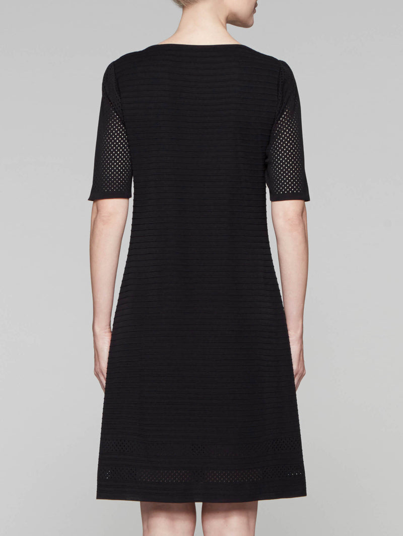 Sheer Trim A-Line Dress