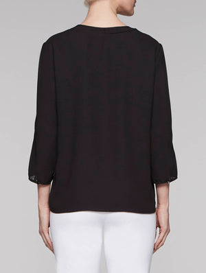 CDC Blouse with Sheer V-Neck Inset