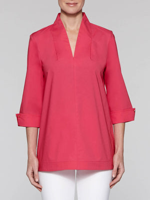Fuchsia Stretch Cotton Split Neck Tunic
