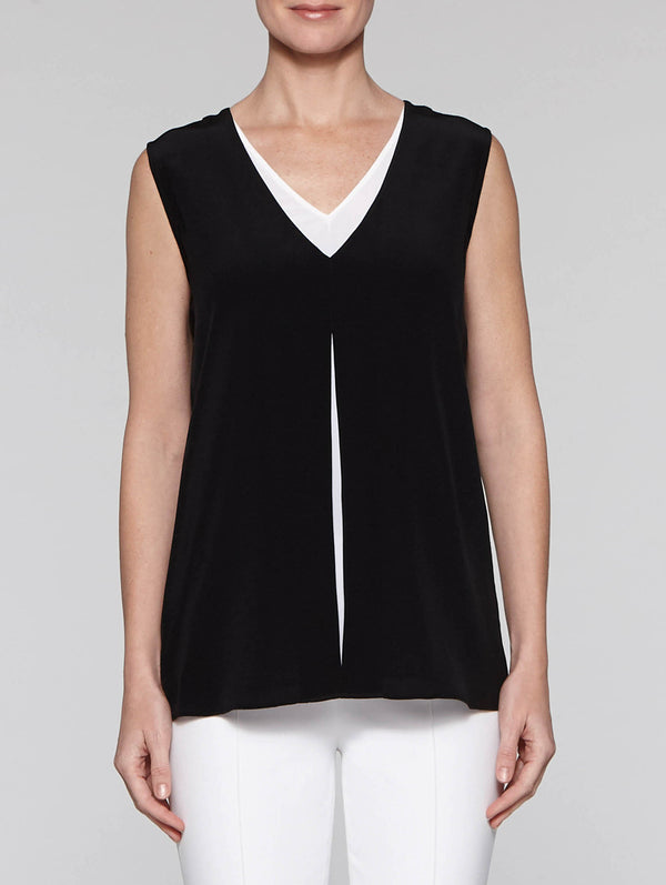Double Layer Crepe Tank Top, Black/White