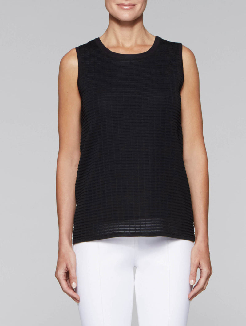 Black Lined Textured Tank