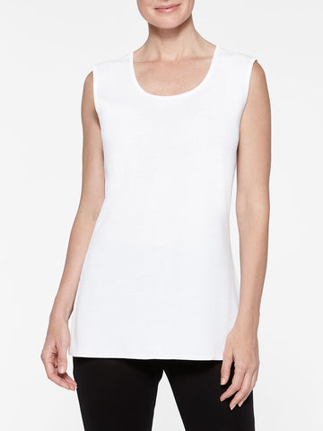 Petite Long Classic Knit Tank Top, White