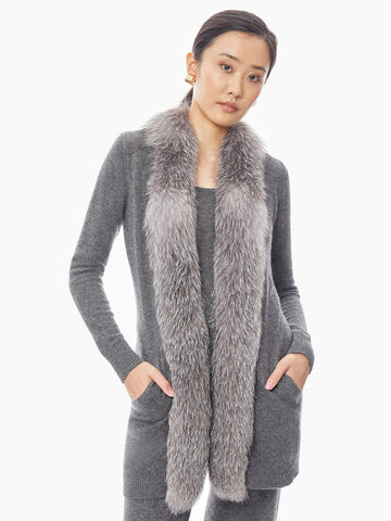 Fox Trim Open Front Cashmere Cardigan, Charcoal/Frosted Fox