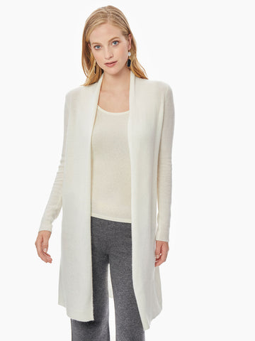 Open Front Cashmere Duster, Ivory