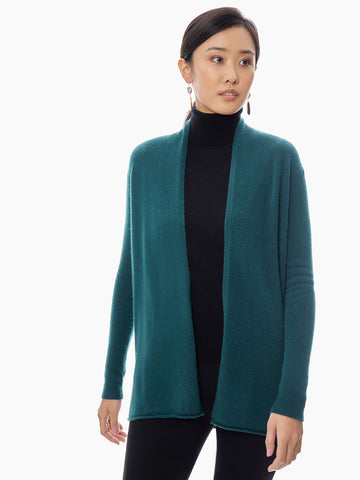 Open Front Cashmere Cardigan, Deep Green