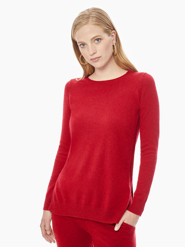 Bateau Neck Relaxed Cashmere Tunic, Red