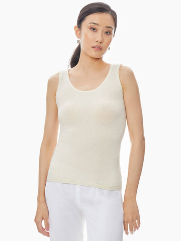 Scoop Neck Cashmere Tank Top, Ivory