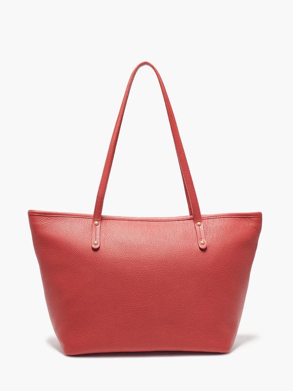 Bleecker Tote Bag in Color Red with Brushed Gold Hardware