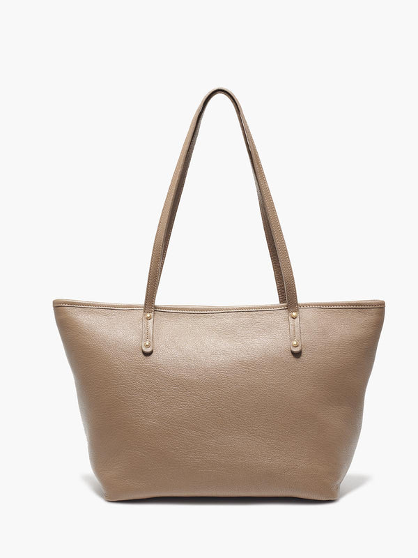 Bleecker Tote Bag in Color Taupe with Brushed Gold Hardware