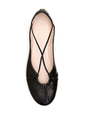 Taryn Rose Alessandra Black Leather Ballet Flat