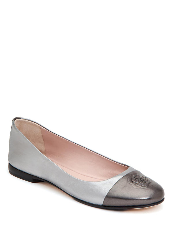 Taryn Rose Rosa Silver Metallic Leather Ballet Flat