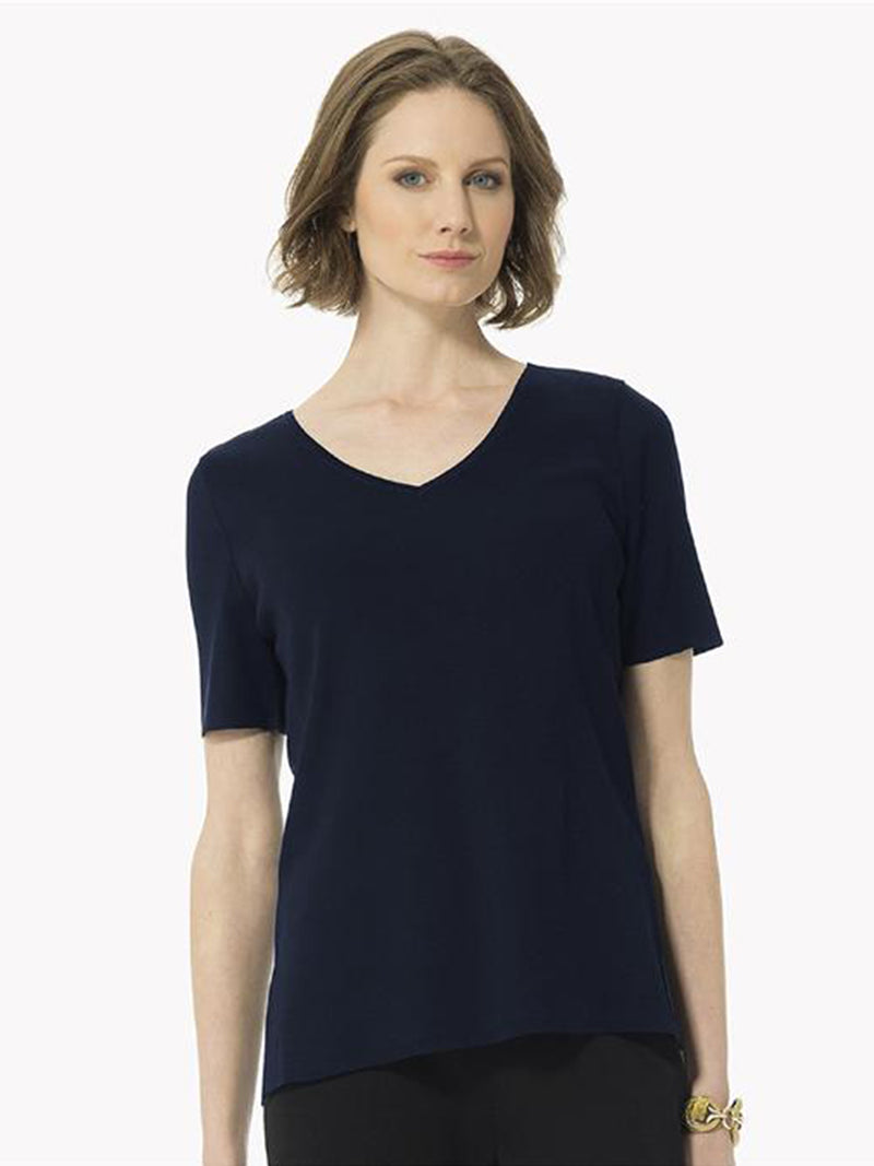 Short Sleeve V-Neck Knit Tunic
