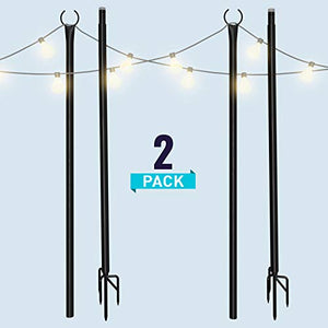 String Light Poles for Outdoors (2 x 9ft) Twist Connection Pole