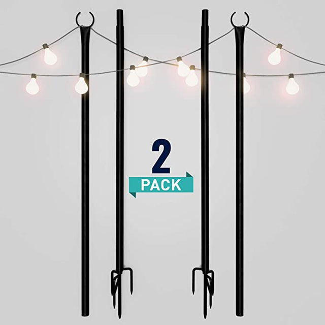 String Light Poles for Outdoors (2 x 9ft) Push Down Middle