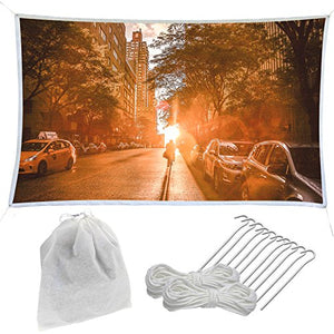 Indoor Outdoor Movie Projector Screen Kit 126 inch Portable and Crease Free Inc Pegs, Ropes Bag