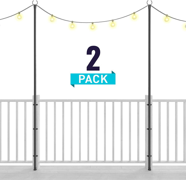Holiday Styling: String Light Poles for Deck Fence or Patio -(2 x 110 inches)