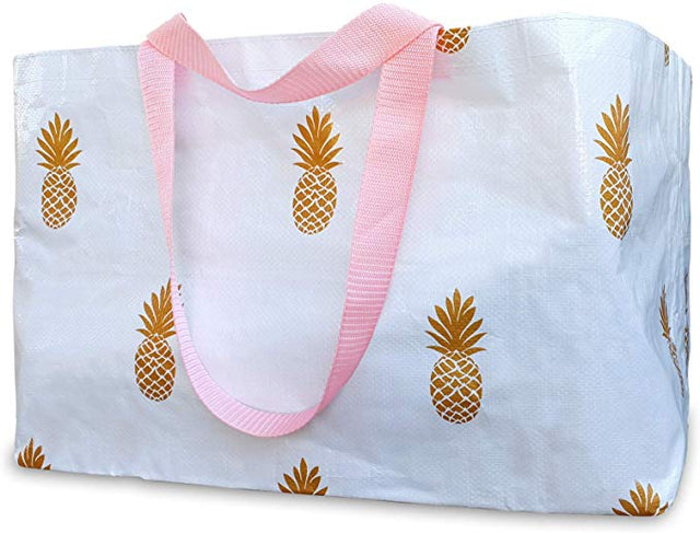 Reusable Tote Bag - Gold Pineapples